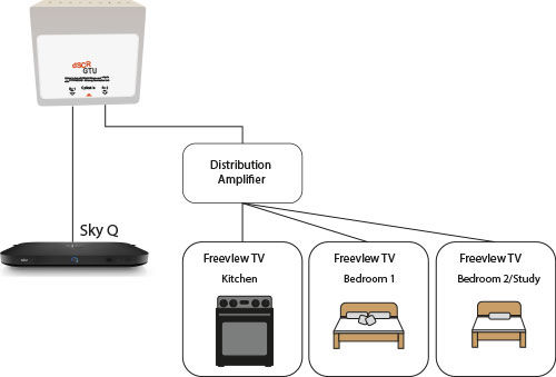 Sky Q with a Distribution Amplifier diagram